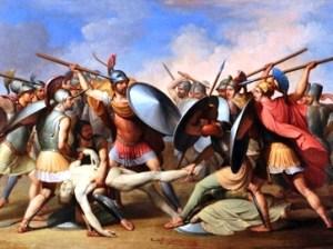 היוונים והטרוייאנים נלחמים על גופת פטרוקלוס