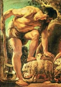 הקיקלופ ממשש את הכבשים (ילדים - נסו למצוא את אודיסאוס בתמונה!)