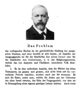 """""""דאס פרובלעם"""" - העמוד הראשון במהדורת 1899 של ה""""געשיכטע פון וולהאוזן""""..."""