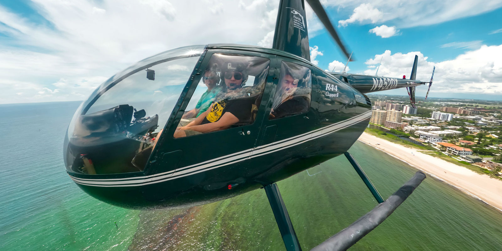 Aerial Panorama R44 Helicopter in Pompano Florida