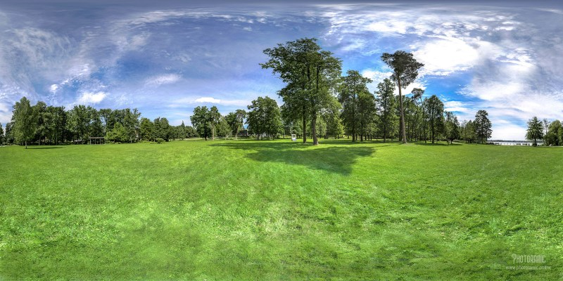 Equirectangular 360 degree photograph of Thermal bad gardens in Bad Sarow