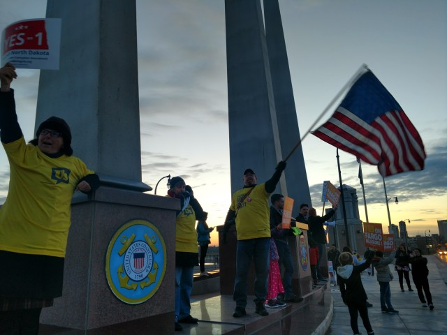 Image of people rallying during March for Democracy, Fargo, N.D.
