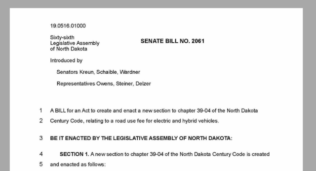 "Image of ND Senate Bill 2061, 2019, which would impose impose a $248/year ""road-use fee"" on electric vehicles"