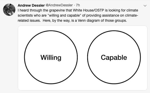 Graphic of climate change scientist's tweet
