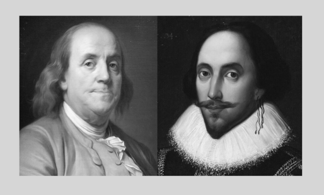 Images of Benjamin Franklin & Wm. Shakespeare for coronavirus post