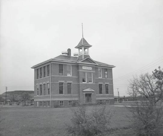 Picture of DeMores School, Medora, N.D. taken 1959