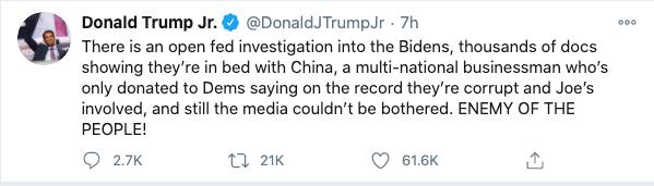 Tweet by Donald Trump Jr. calling press enemies of the people