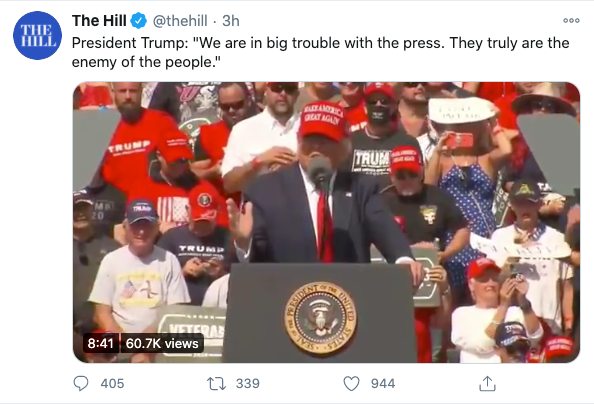 Tweet by Donald Trump calling press enemy of the people