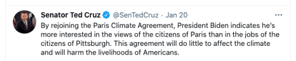 Insurrectionist Ted Cruz's Twitter post on USA and Paris Accord