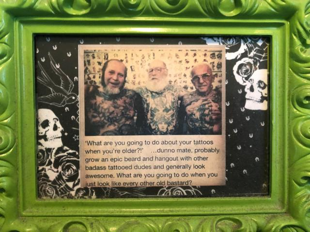 Picture of a framed clipping at Addictions Tattoo in Fargo, N.D.