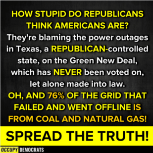 Occupy Democrats graphic re: GOP misinformation about coal & natural gas