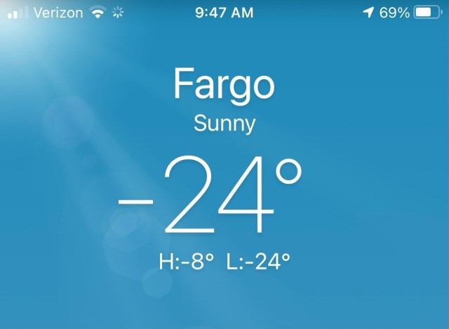 Weather app screenshot of minus 24