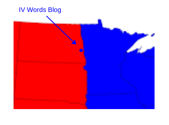 Graphic of where IV Words Blog is located on the border of ND/Minnesota