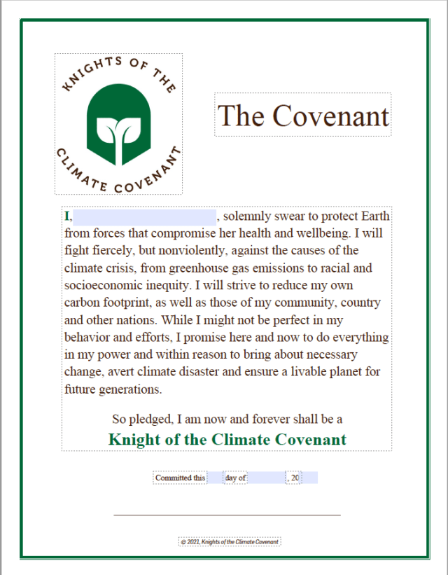 The Knights of the Climate Covenant - printable pledge