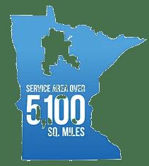 Graphic illustrating Paul Bunyan Communications service area