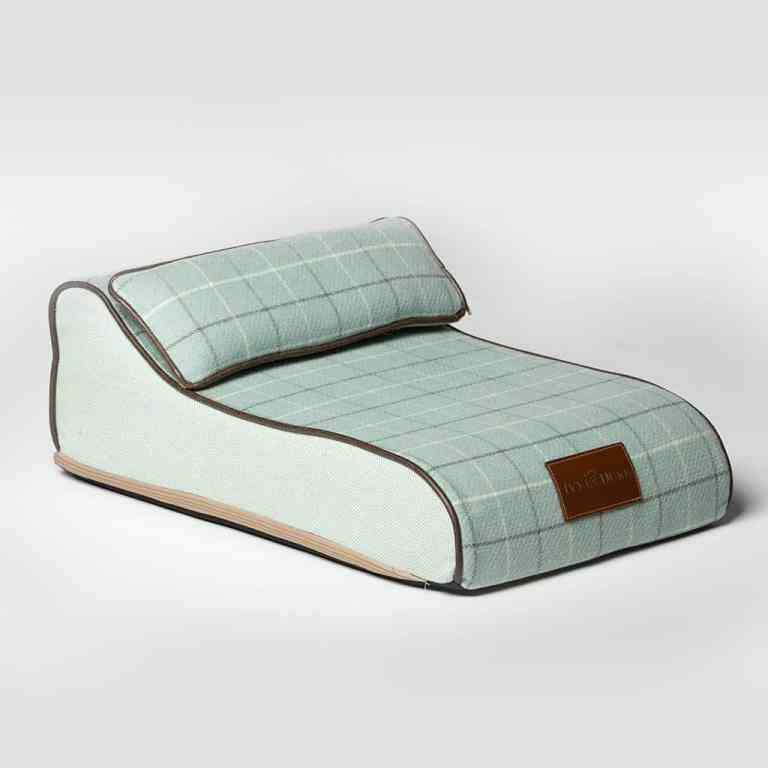 Small Size Fabric Chaise Chien In Duck Egg