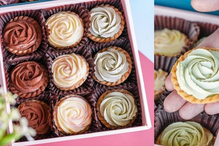 台中伴手禮甜點推薦,浪漫三色玫瑰花告白不失手!我願堂 團購美食必推玫瑰塔禮盒、手工餅乾