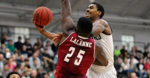 Wesley Saunders notched 10 second-half points following a scoreless first stanza against Northeastern. (gocrimson.com)