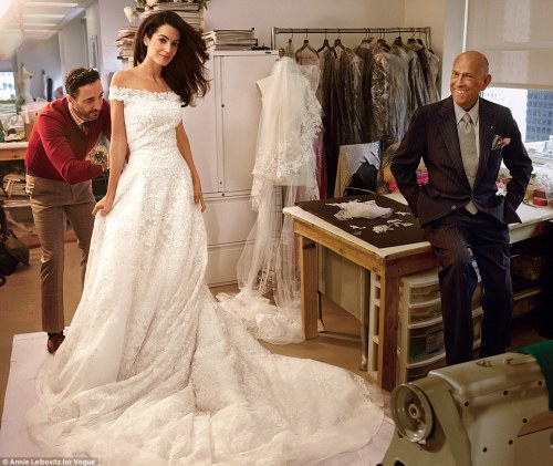 amal with oscar de la renta fitting