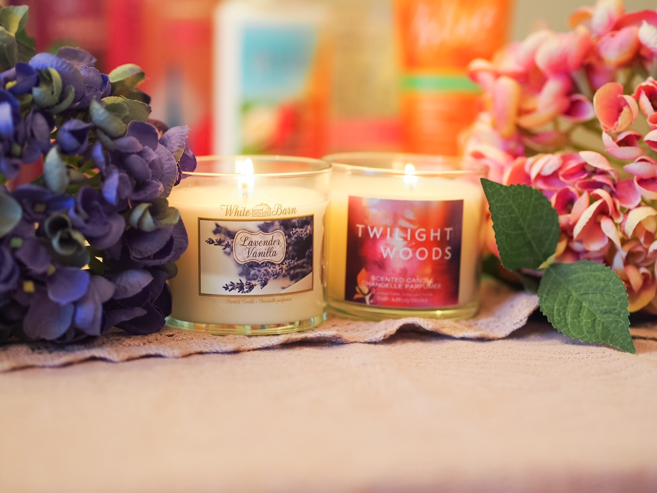 Candle scented bath and body works