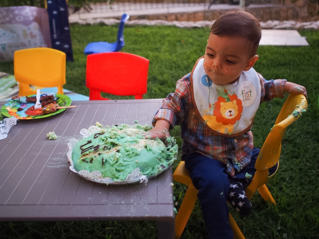baby luca first birthday smash cake
