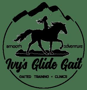 "horse back gaited riding logo ""Ivy's glide gait"""