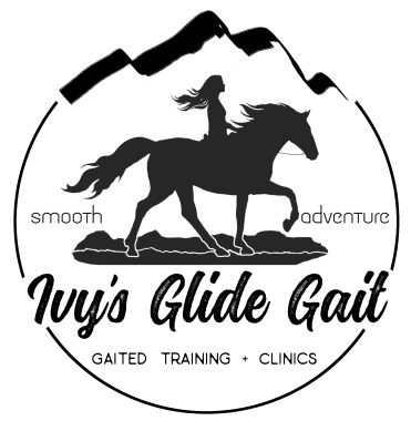 "horse back gaited riding logo ""Ivy's glide gait"""