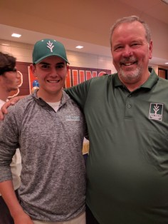 Head Coach Lance Hershberger (left) with Ivy Tech's first commit, Alec Agler, from Northrop High School
