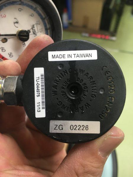 残圧計 裏面 安全栓 欠損