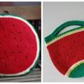 πλεκτό μαξιλάρι καρπούζι και τσάντα καρπούζι