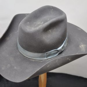 Charcoal narrow roping horse hat distressed with faded blue ribbon hatband