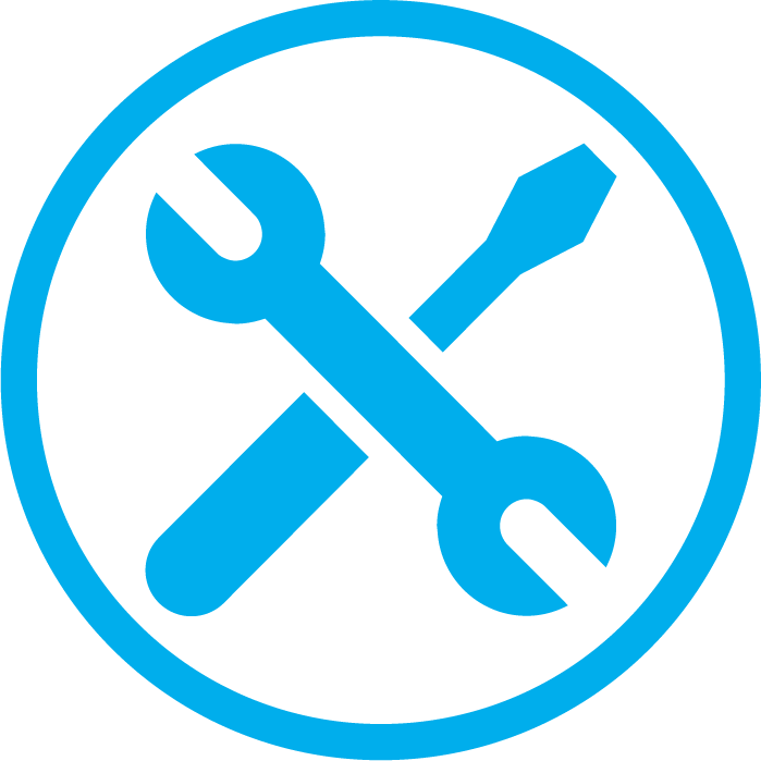 screw spanner blue i want 2 work icon for employers work
