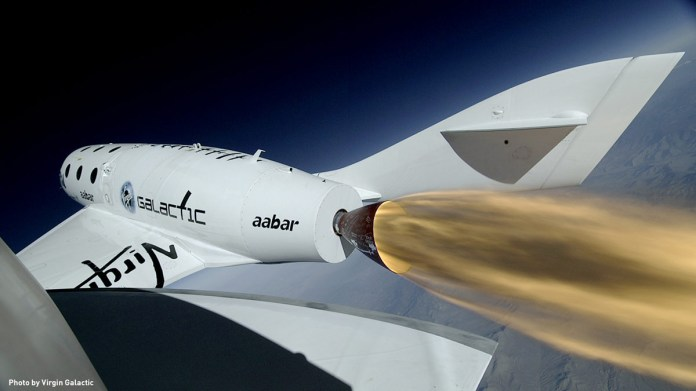 Frame from SpaceShipTwo Boom Camera during first rocket-powered flight
