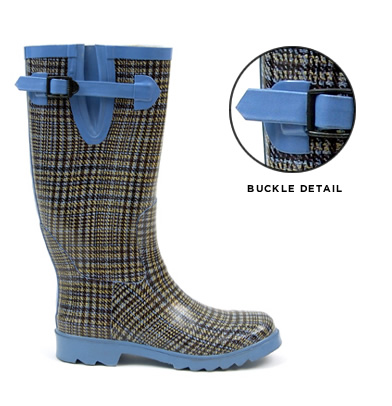 Hunter Blue Tweed Wellington boots
