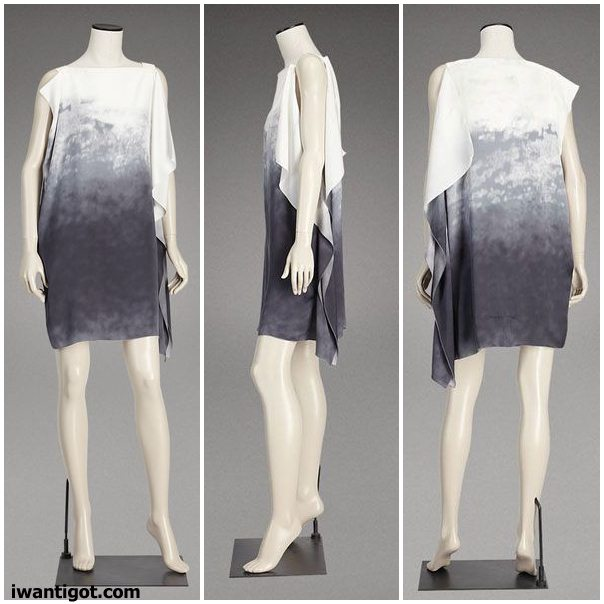 Printed Silk Asymmetric Tunic Dresses by Bottega Veneta