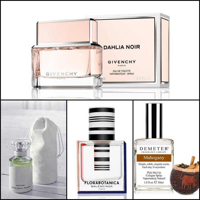 Givenchy Dahlia Noir Eau du Toilette, Maison Martin Marigela (untitled), Balenciaga Florabotanica Eau de Parfum, Demeter Fragrance Mahogany