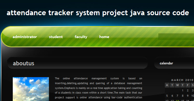 Attendance Tracker System Project Java Source Code