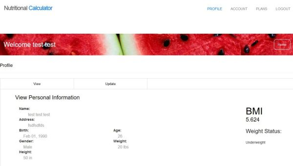 Nutritional Calculator Client Side