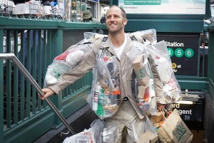 Rob Greenfield zero waste and sustainability guru wearing his trash-suit for 1 entire month in New York.