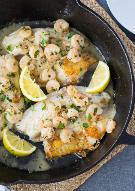 Easy Skillet Tilapia with Shrimp
