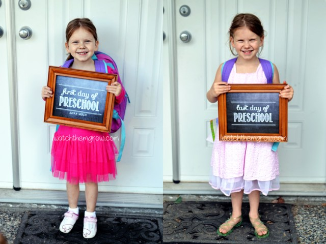 Great idea! First and last day of preschool photos using a free printable sign. Do it every year and this will make an awesome photo project by graduation!