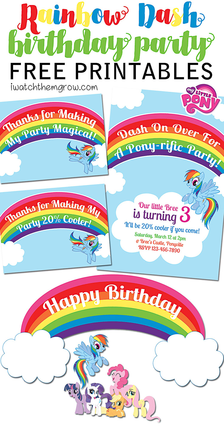 graphic regarding Free Printable Thank You Tags for Birthdays referred to as Cost-free MLP Rainbow Sprint Birthday Bash Printables