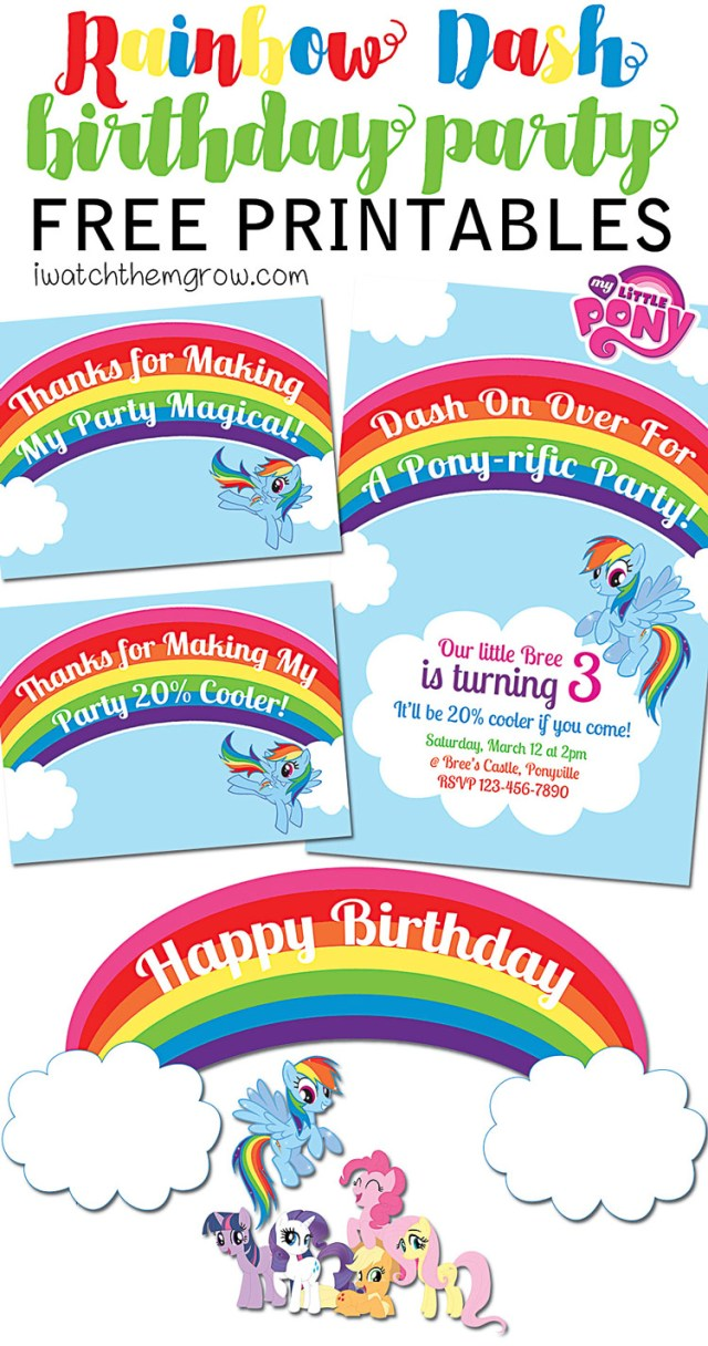FREE My Little Pony Rainbow Dash Birthday Party Printables Invitation Thank You Cards