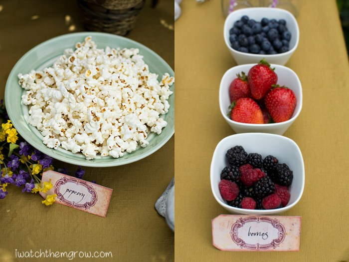 Garden fairy party food ideas - popcorn and fresh berries