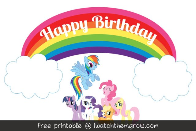 FREE PRINTABLE Rainbow Cake Topper Or Party Signs For A My Little Pony Dash Birthday