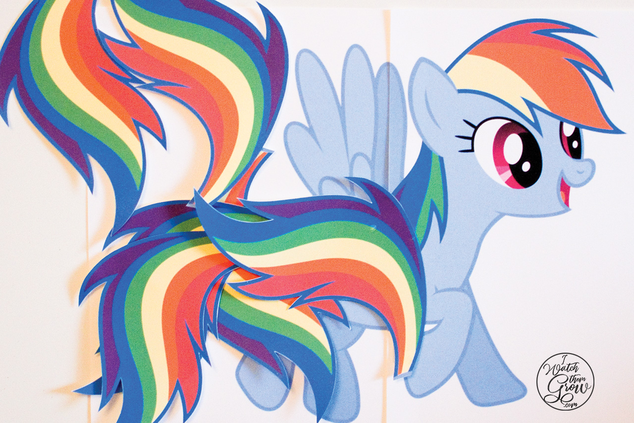 Free printable pin the tail on Rainbow Dash game! Perfect for a My Little Pony