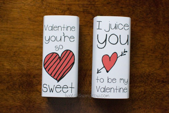 Free printable Valentine juice box wrappers
