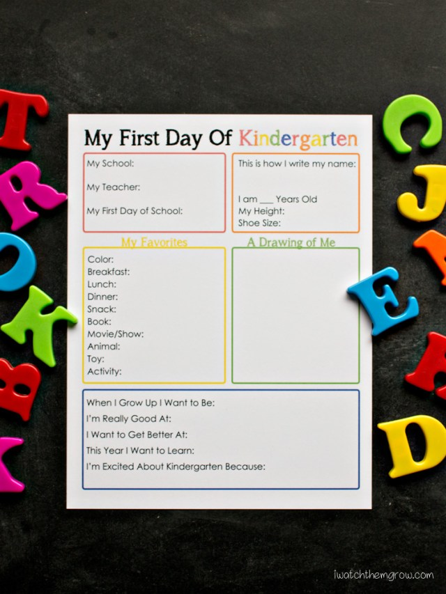 Free printable first day of school interview for kindergarten - this will be such a cute keepsake!!