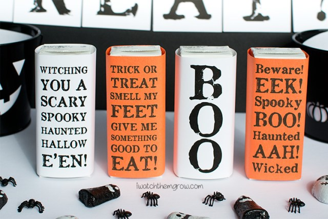 Free printable Halloween juice box covers that can be printed on white paper for a black and white Halloween party, or colored paper to match any color scheme!