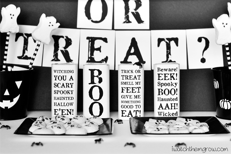 Create a chic, black and white kids Halloween party in just minutes (and with only a teensy bit of ink) with these free black and white Halloween party printables!